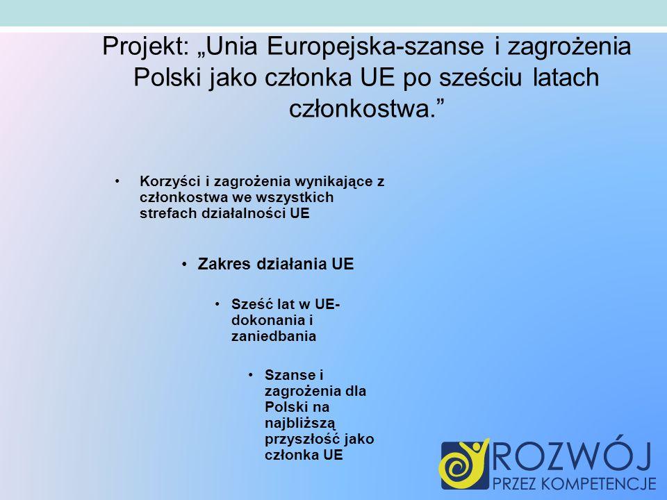 """Projekt: """"Unia Europejska-szanse i zagrożenia Polski jako członka UE po sześciu latach członkostwa."""