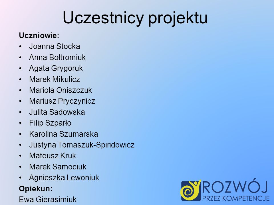Uczestnicy projektu Uczniowie: Joanna Stocka Anna Bołtromiuk