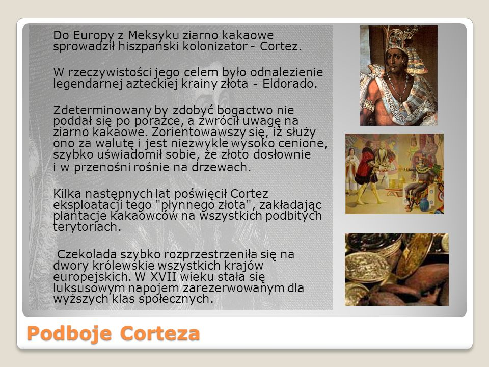 Do Europy z Meksyku ziarno kakaowe sprowadził hiszpański kolonizator - Cortez.