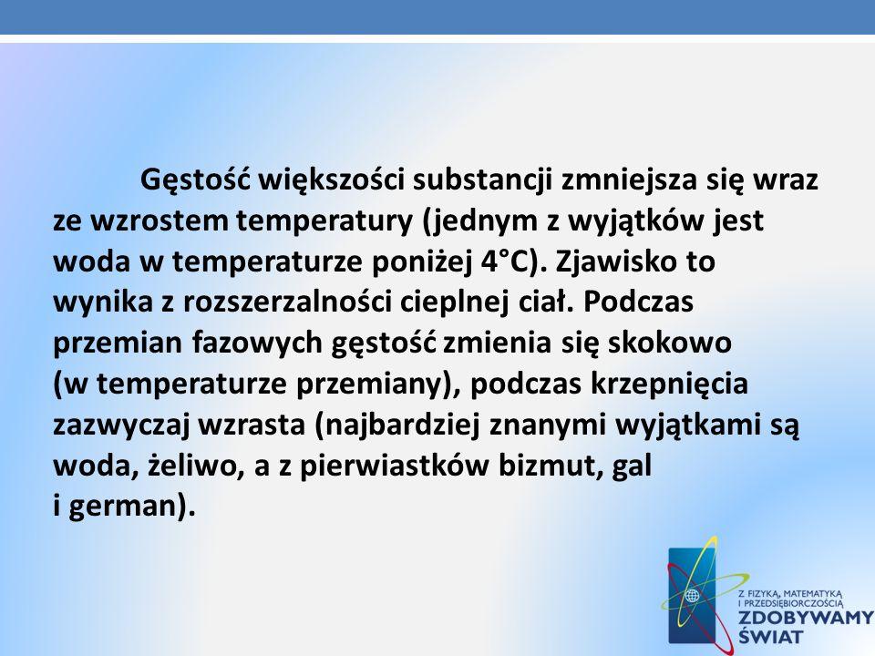 Gęstość większości substancji zmniejsza się wraz ze wzrostem temperatury (jednym z wyjątków jest woda w temperaturze poniżej 4°C).