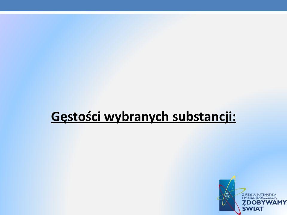 Gęstości wybranych substancji: