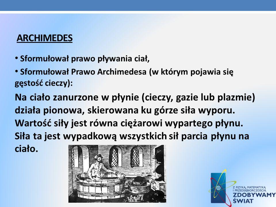ArchimedesSformułował prawo pływania ciał, Sformułował Prawo Archimedesa (w którym pojawia się gęstość cieczy):