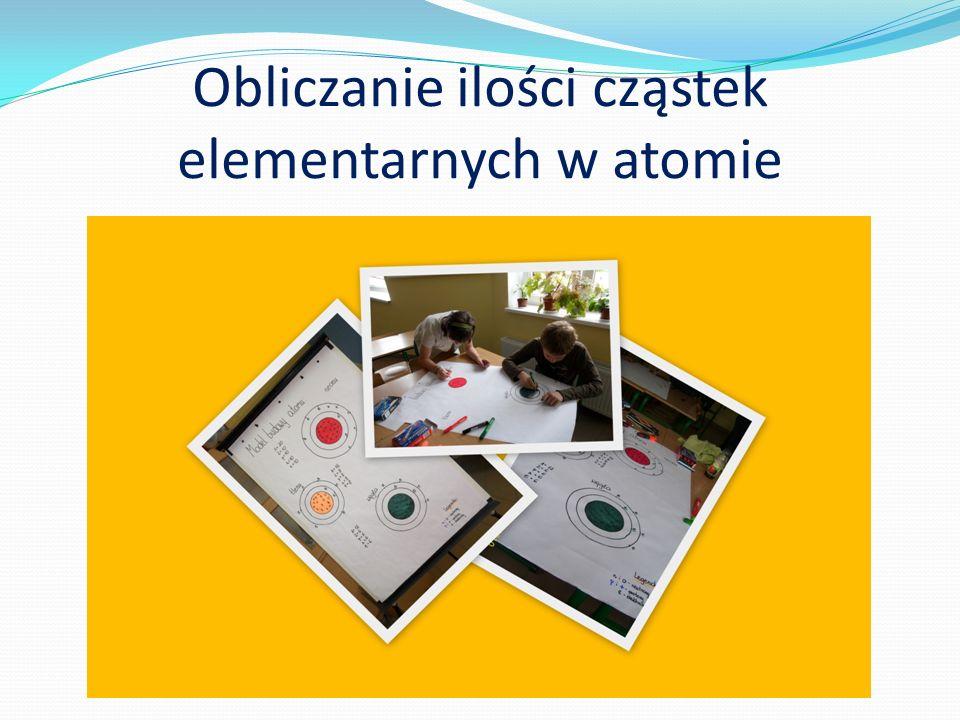 Obliczanie ilości cząstek elementarnych w atomie