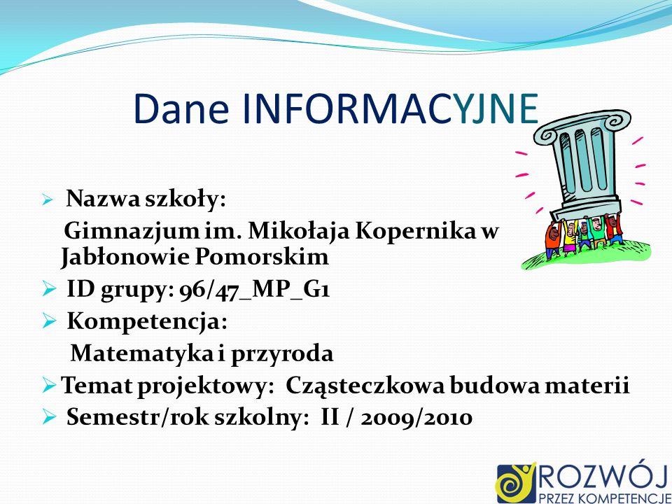 Dane INFORMACYJNENazwa szkoły: Gimnazjum im. Mikołaja Kopernika w Jabłonowie Pomorskim. ID grupy: 96/47_MP_G1.