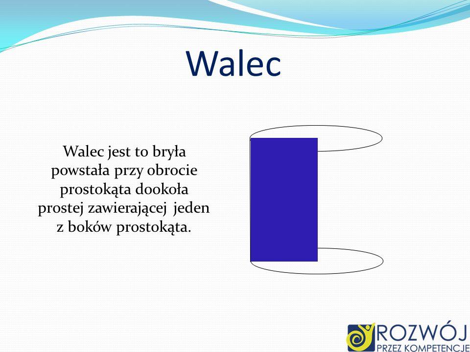 Walec Walec jest to bryła powstała przy obrocie prostokąta dookoła prostej zawierającej jeden z boków prostokąta.