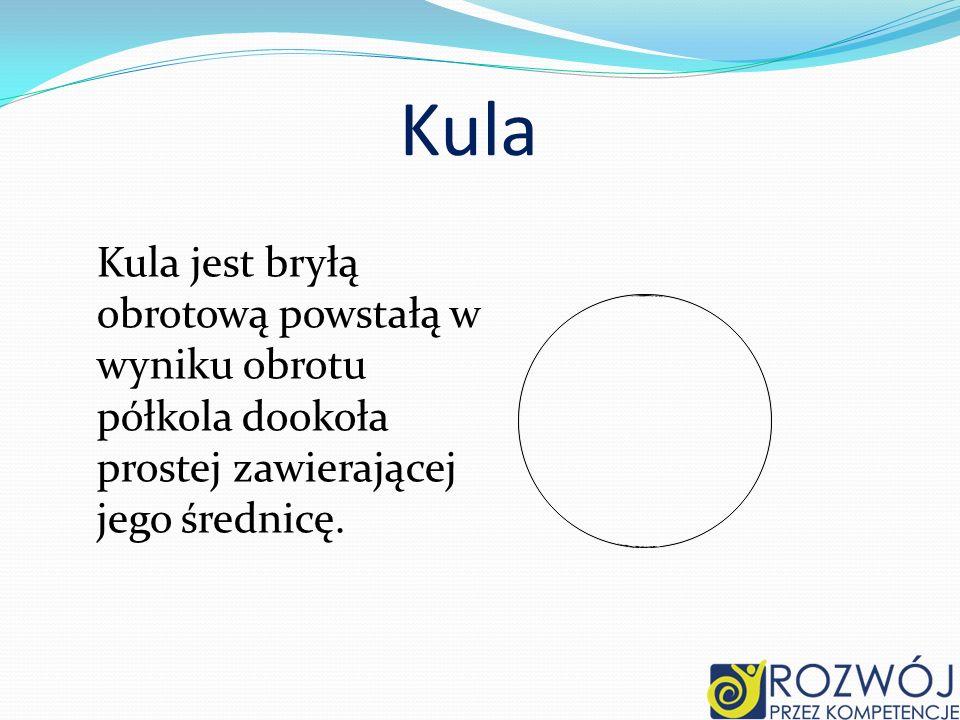 KulaKula jest bryłą obrotową powstałą w wyniku obrotu półkola dookoła prostej zawierającej jego średnicę.