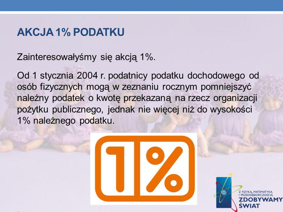 Akcja 1% podatku Zainteresowałyśmy się akcją 1%.
