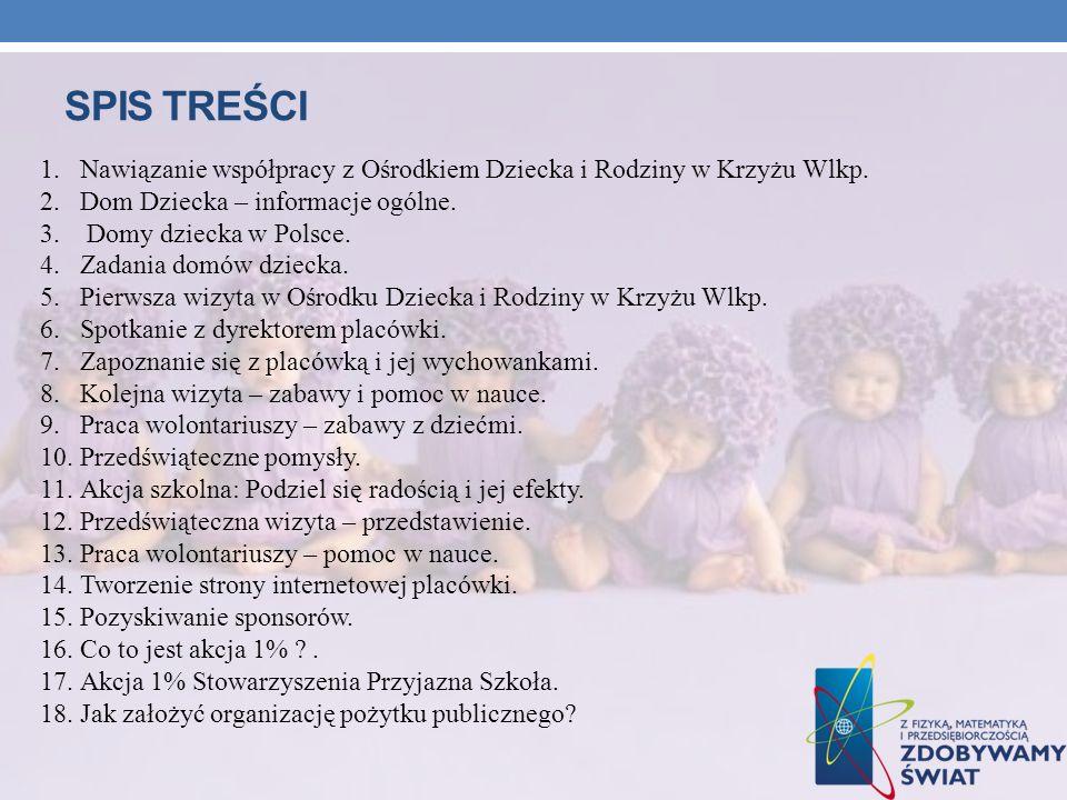 SPIs treści Nawiązanie współpracy z Ośrodkiem Dziecka i Rodziny w Krzyżu Wlkp. Dom Dziecka – informacje ogólne.