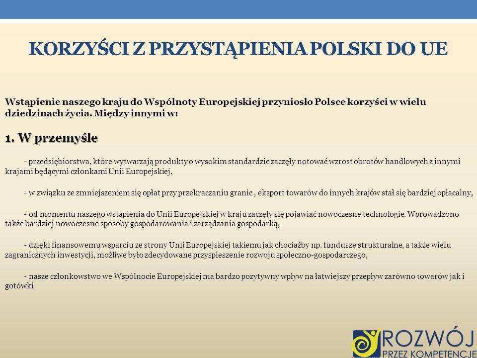 Korzyści z przystąpienia Polski do ue