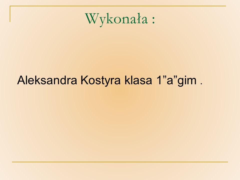 Wykonała : Aleksandra Kostyra klasa 1 a gim .