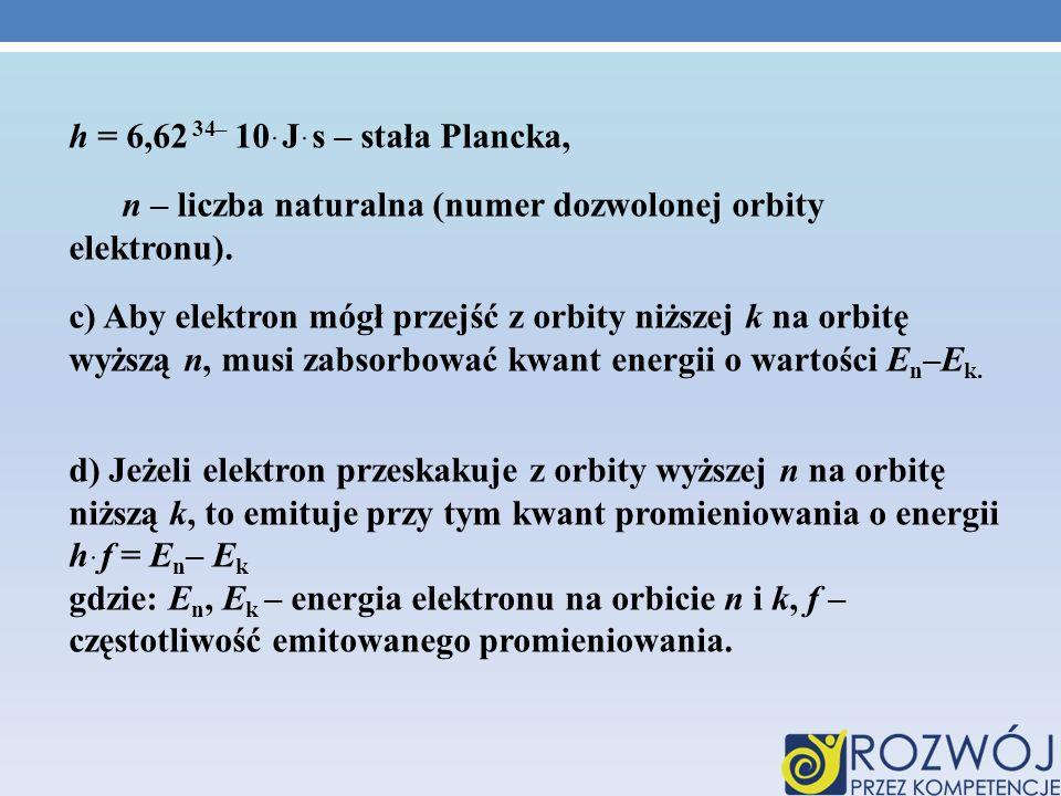 h = 6,62ּ10 –34 Jּs – stała Plancka, n – liczba naturalna (numer dozwolonej orbity elektronu).
