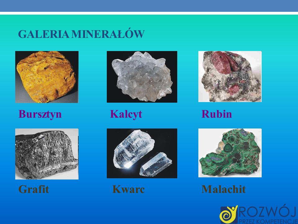 Galeria minerałów Bursztyn Kalcyt Rubin Grafit Kwarc Malachit