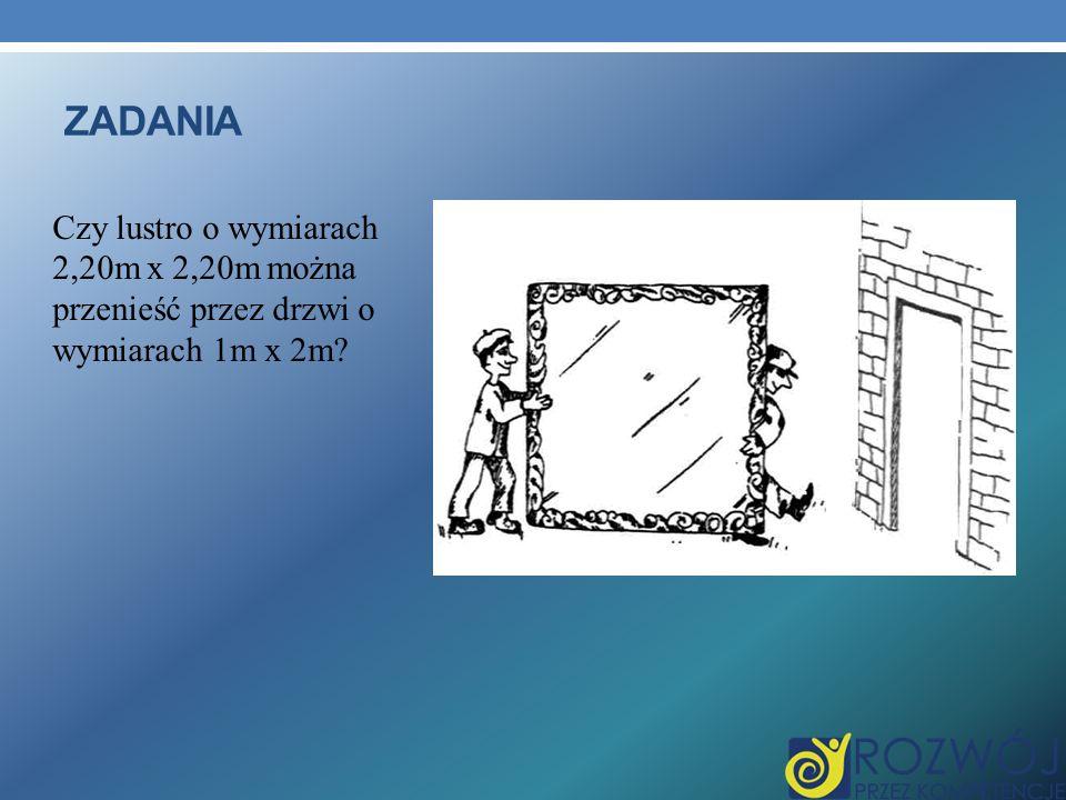 ZADANIA Czy lustro o wymiarach 2,20m x 2,20m można przenieść przez drzwi o wymiarach 1m x 2m