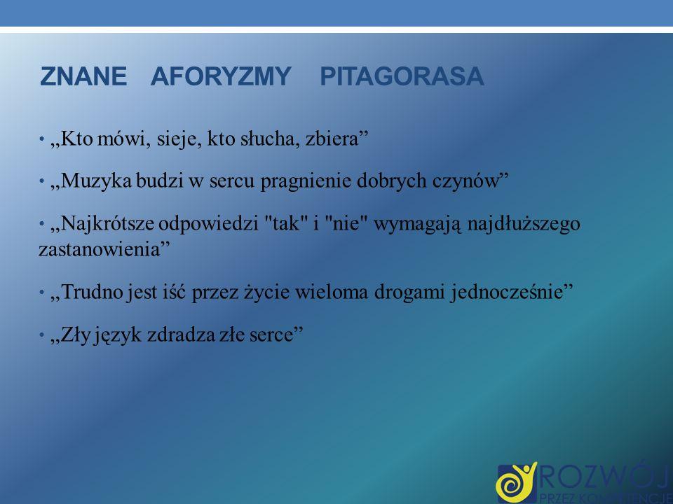 Znane aforyzmy pitagorasa