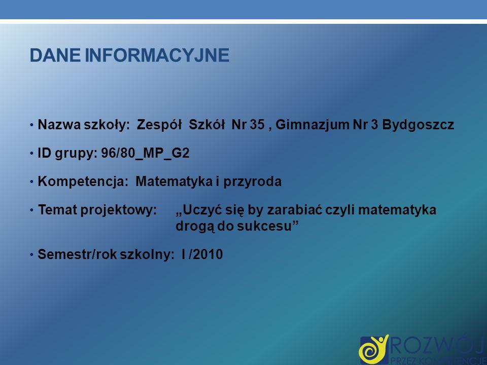 Dane INFORMACYJNE Nazwa szkoły: Zespół Szkół Nr 35 , Gimnazjum Nr 3 Bydgoszcz. ID grupy: 96/80_MP_G2.