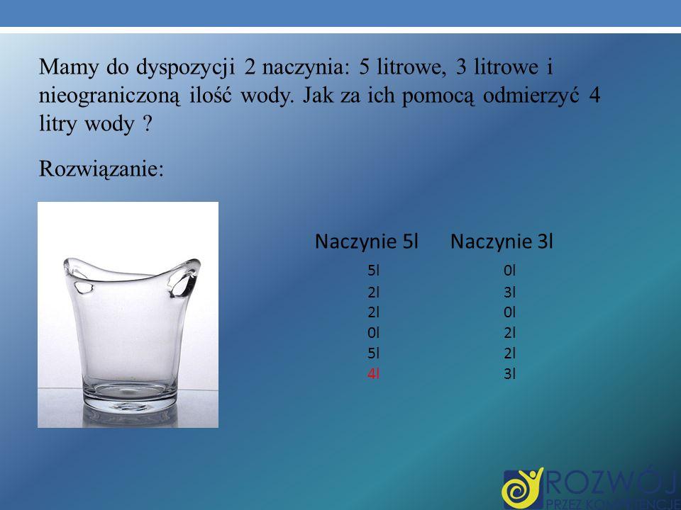 Mamy do dyspozycji 2 naczynia: 5 litrowe, 3 litrowe i nieograniczoną ilość wody. Jak za ich pomocą odmierzyć 4 litry wody Rozwiązanie: