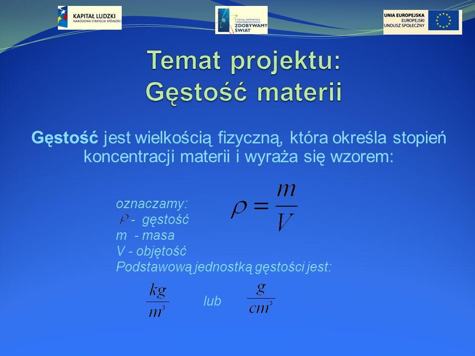 Temat projektu: Gęstość materii