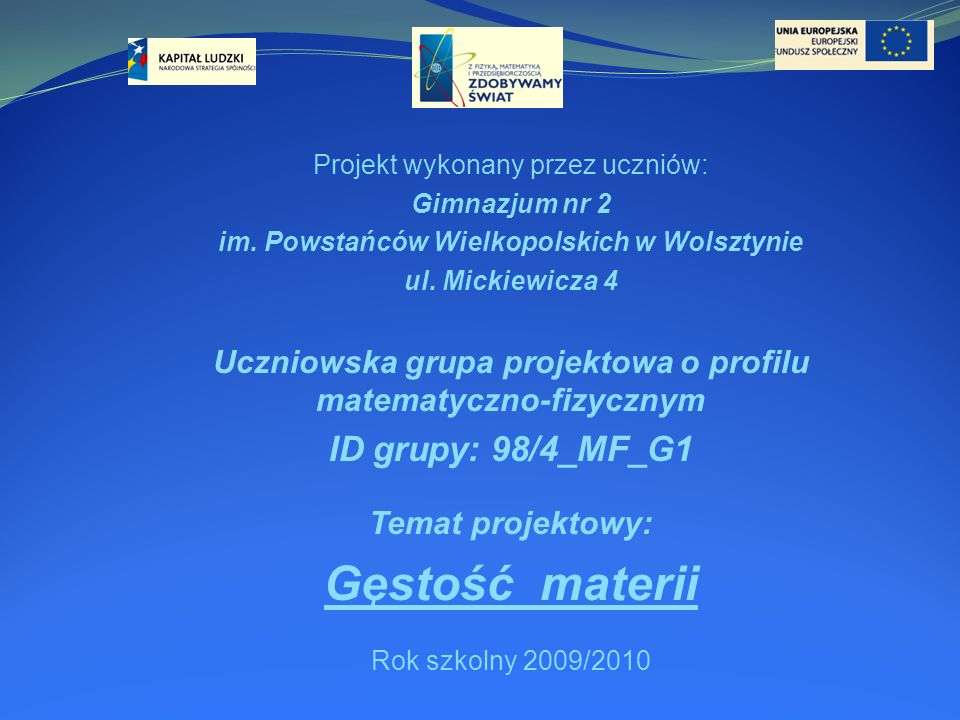 Gęstość materii ID grupy: 98/4_MF_G1