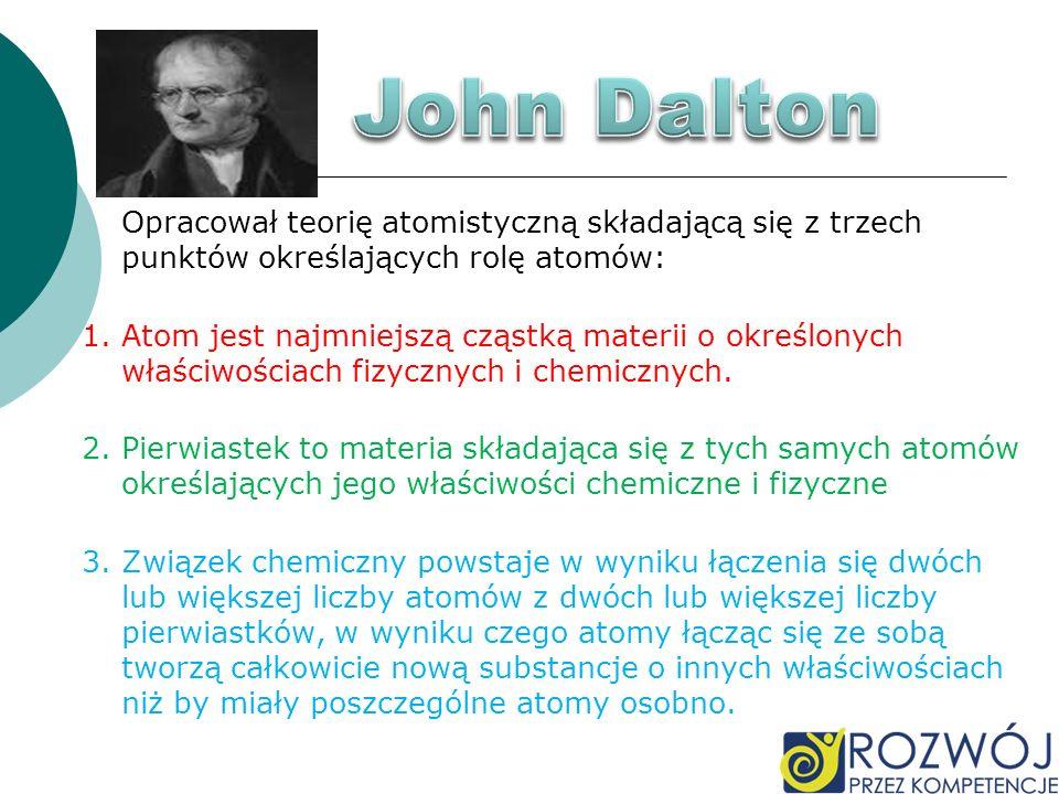 John Dalton Opracował teorię atomistyczną składającą się z trzech punktów określających rolę atomów: