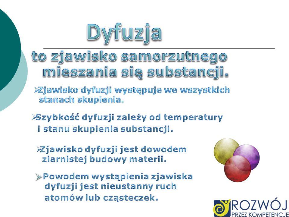 Dyfuzja to zjawisko samorzutnego mieszania się substancji.