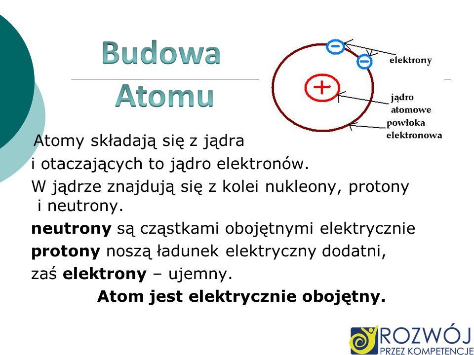 Atom jest elektrycznie obojętny.