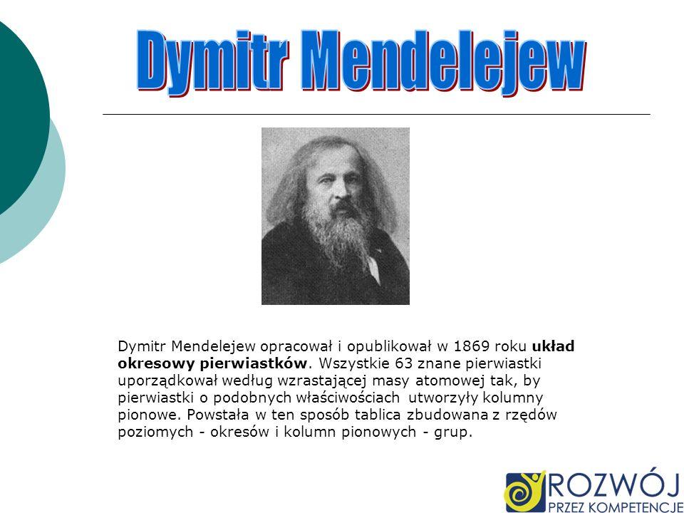 Dymitr Mendelejew Dymitr Mendelejew opracował i opublikował w 1869 roku układ. okresowy pierwiastków. Wszystkie 63 znane pierwiastki.