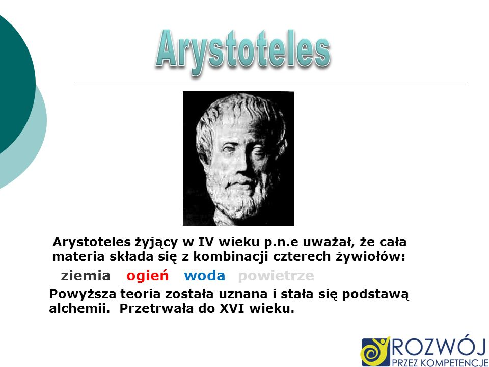 Arystoteles Arystoteles żyjący w IV wieku p.n.e uważał, że cała materia składa się z kombinacji czterech żywiołów:
