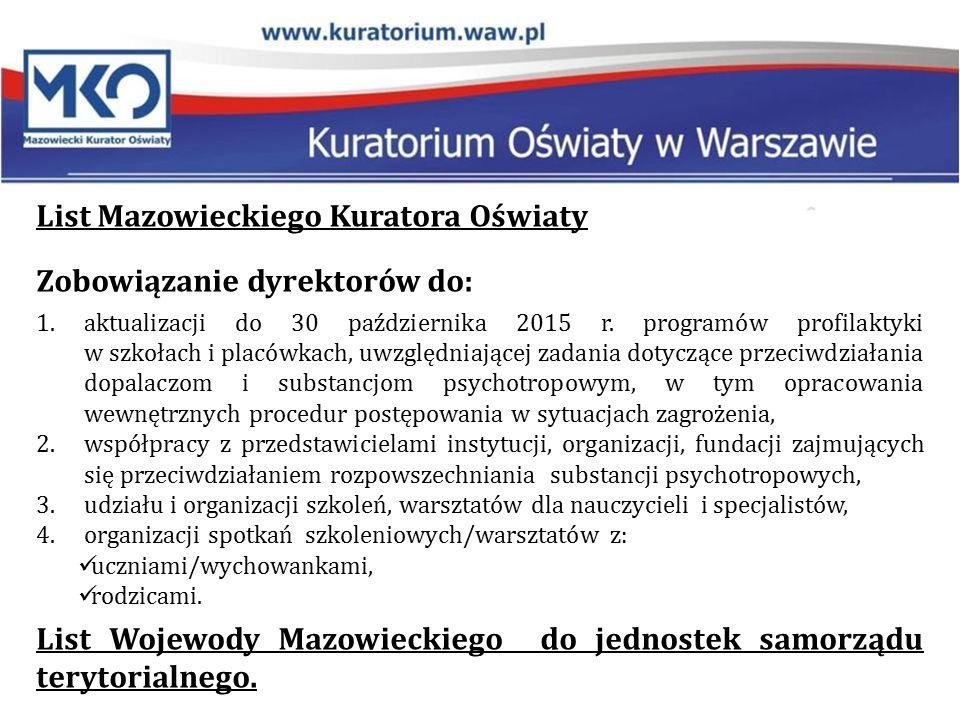 List Mazowieckiego Kuratora Oświaty Zobowiązanie dyrektorów do: