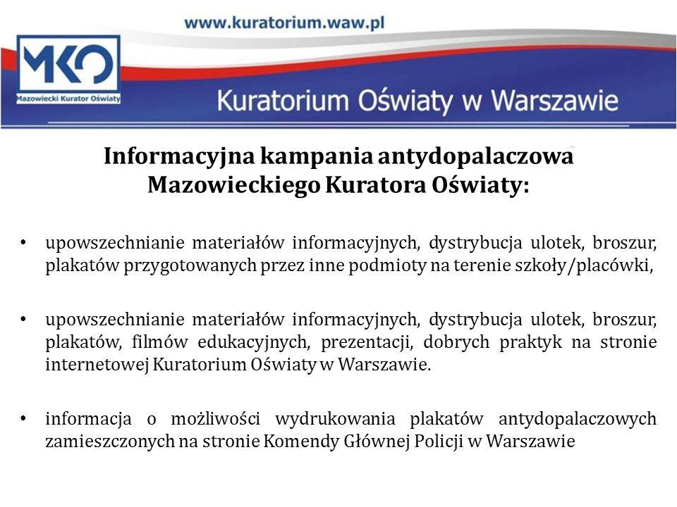 Informacyjna kampania antydopalaczowa Mazowieckiego Kuratora Oświaty: