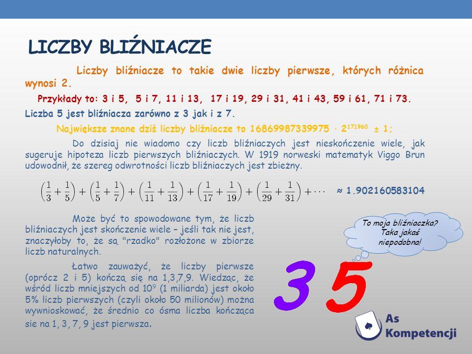 LICZBY BLIŹNIACZE Liczby bliźniacze to takie dwie liczby pierwsze, których różnica wynosi 2.