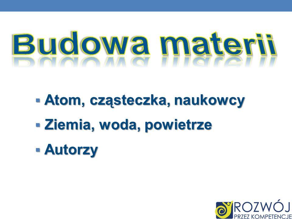 Budowa materii Atom, cząsteczka, naukowcy Ziemia, woda, powietrze