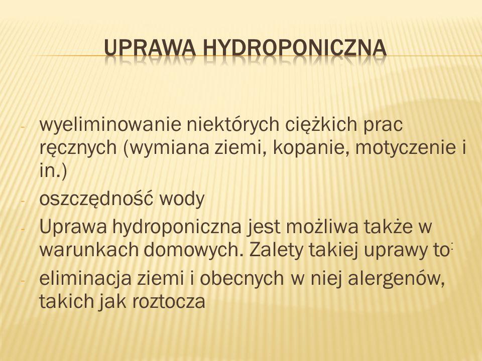Uprawa hydroponiczna wyeliminowanie niektórych ciężkich prac ręcznych (wymiana ziemi, kopanie, motyczenie i in.)