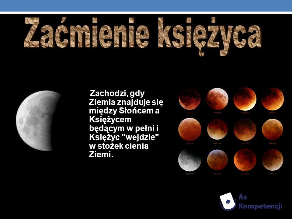 Zaćmienie księżyca Zachodzi, gdy Ziemia znajduje się między Słońcem a Księżycem będącym w pełni i Księżyc wejdzie w stożek cienia Ziemi.