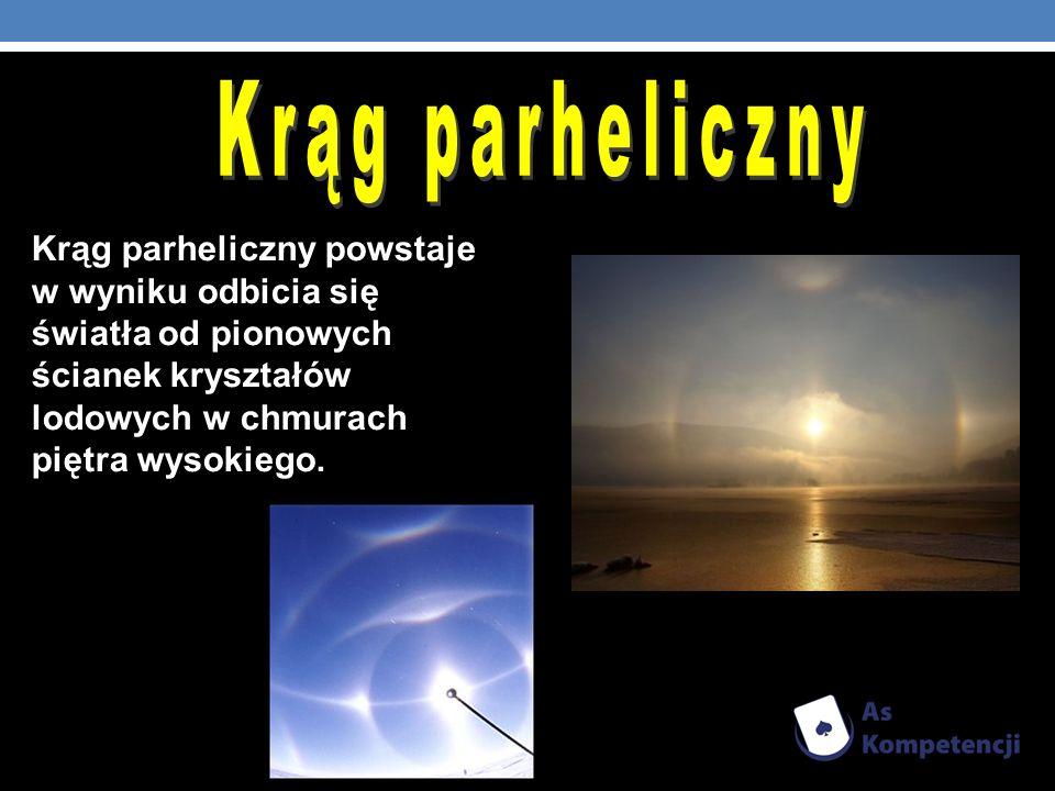 Krąg parheliczny Krąg parheliczny powstaje w wyniku odbicia się światła od pionowych ścianek kryształów lodowych w chmurach piętra wysokiego.