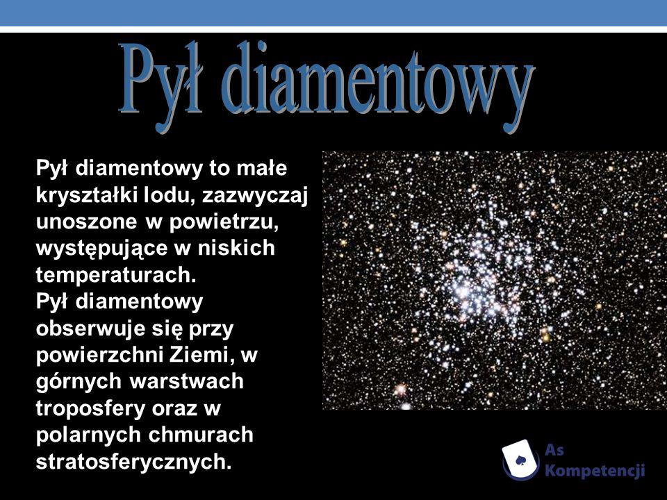 Pył diamentowy Pył diamentowy to małe kryształki lodu, zazwyczaj unoszone w powietrzu, występujące w niskich temperaturach.