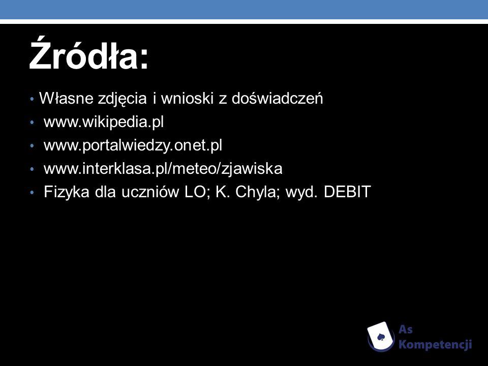 Źródła: Własne zdjęcia i wnioski z doświadczeń www.wikipedia.pl