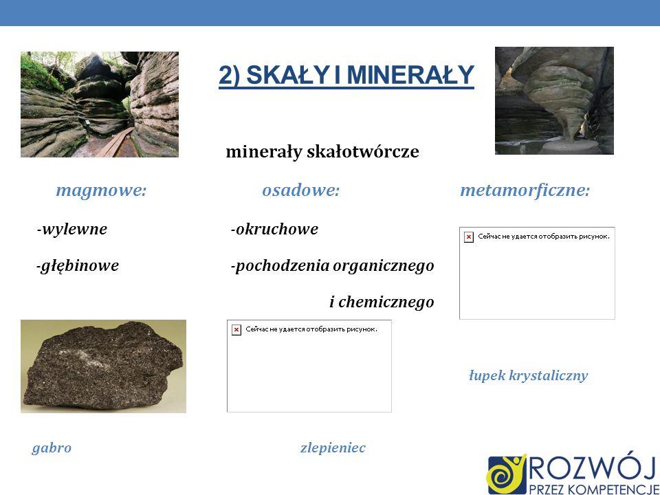 minerały skałotwórcze magmowe: osadowe: metamorficzne:
