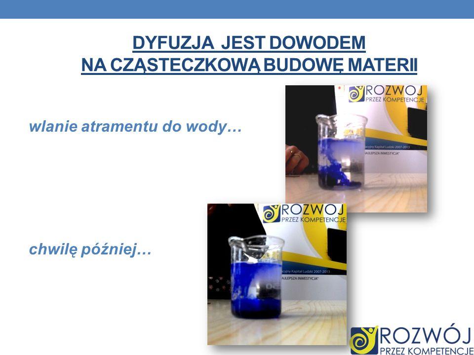 Dyfuzja jest dowodem na cząsteczkową budowę materii