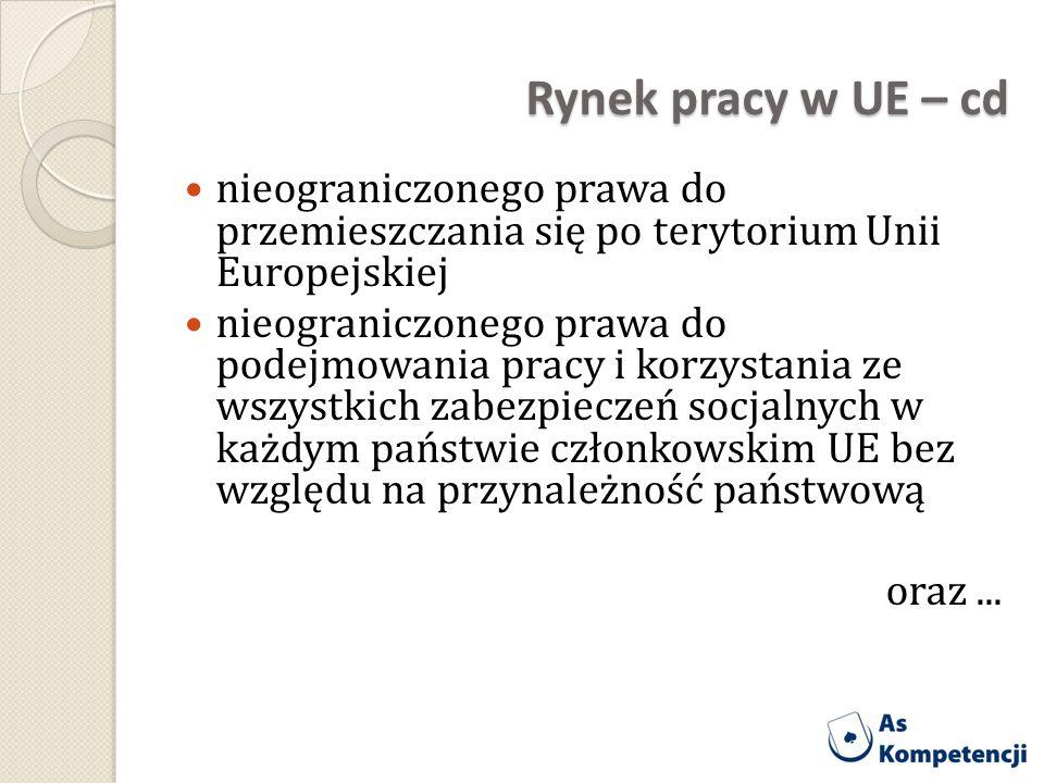 Rynek pracy w UE – cd nieograniczonego prawa do przemieszczania się po terytorium Unii Europejskiej.
