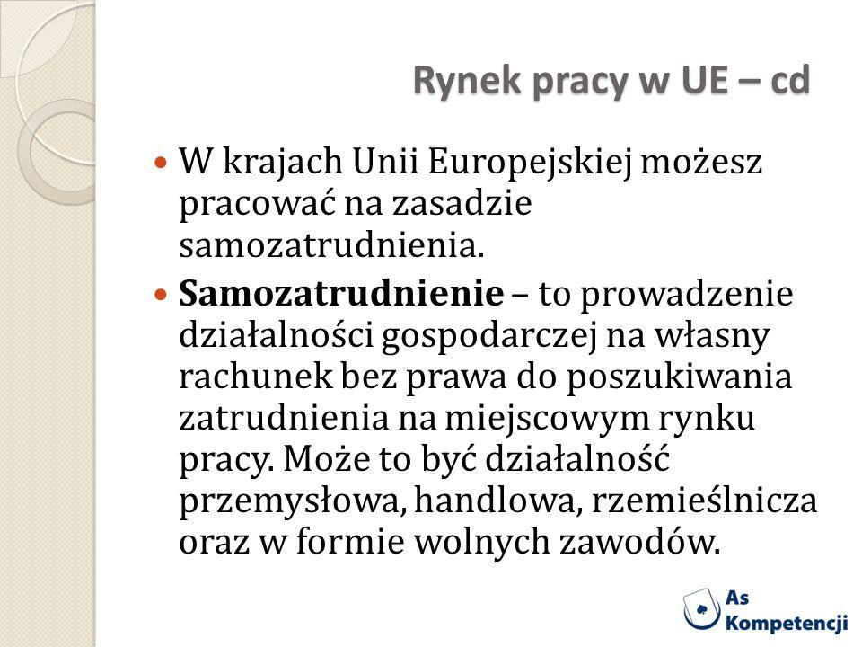 Rynek pracy w UE – cd W krajach Unii Europejskiej możesz pracować na zasadzie samozatrudnienia.
