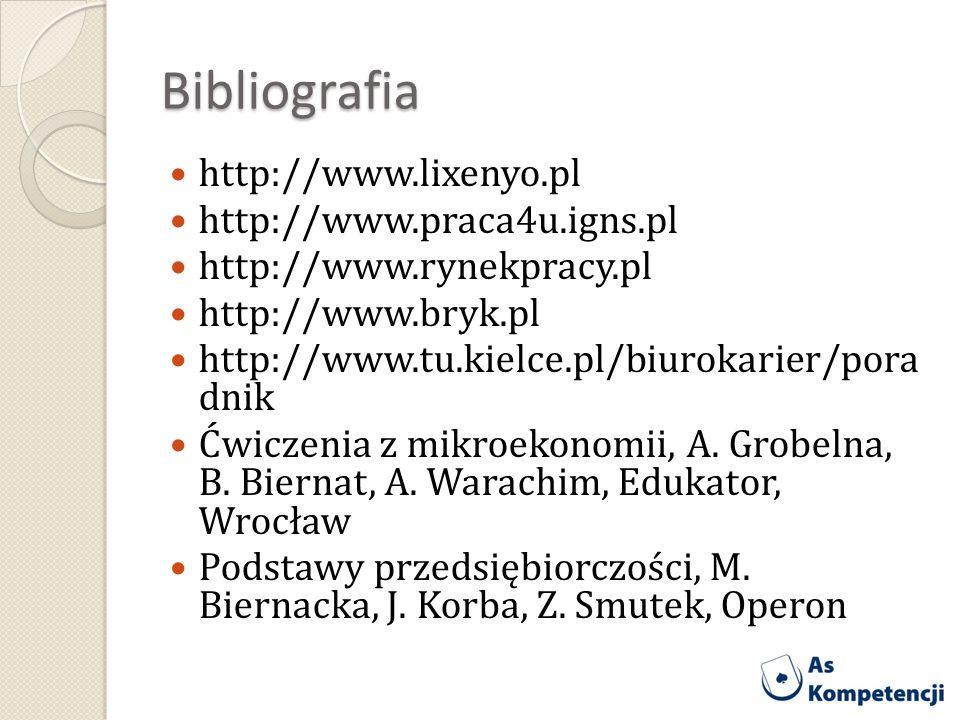 Bibliografia http://www.lixenyo.pl http://www.praca4u.igns.pl