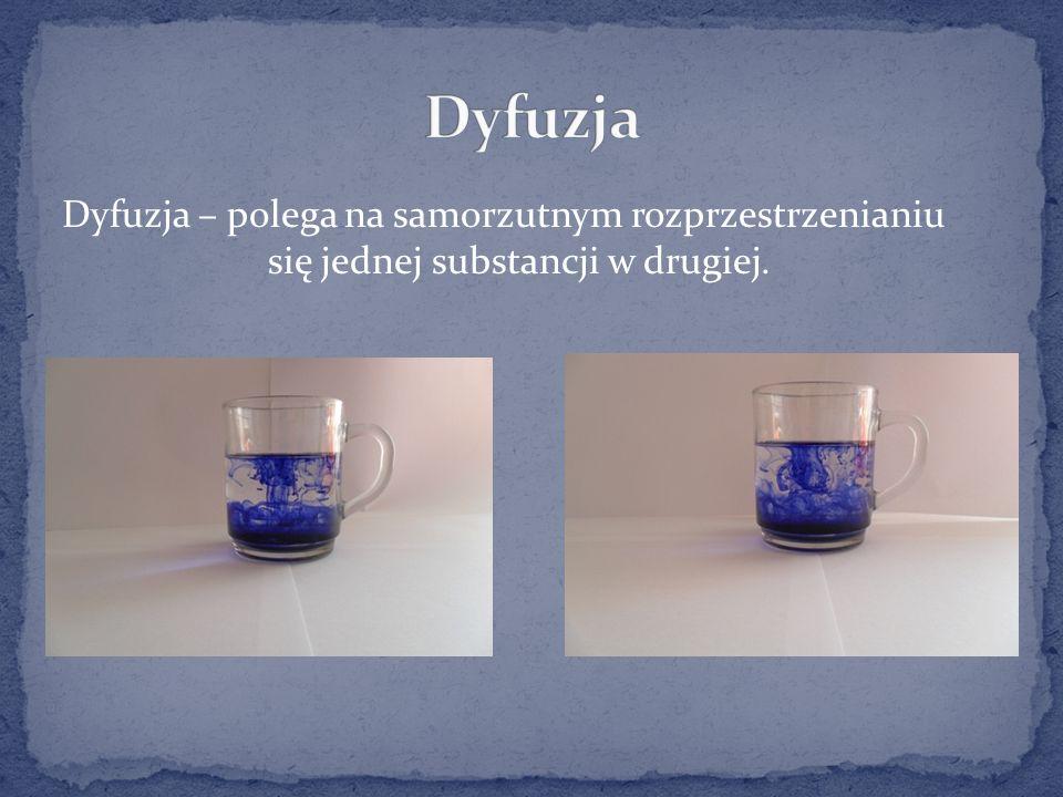 Dyfuzja Dyfuzja – polega na samorzutnym rozprzestrzenianiu się jednej substancji w drugiej.