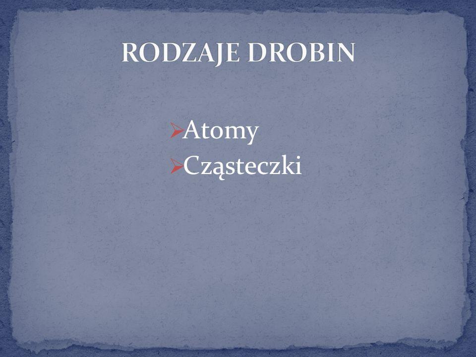 RODZAJE DROBIN Atomy Cząsteczki