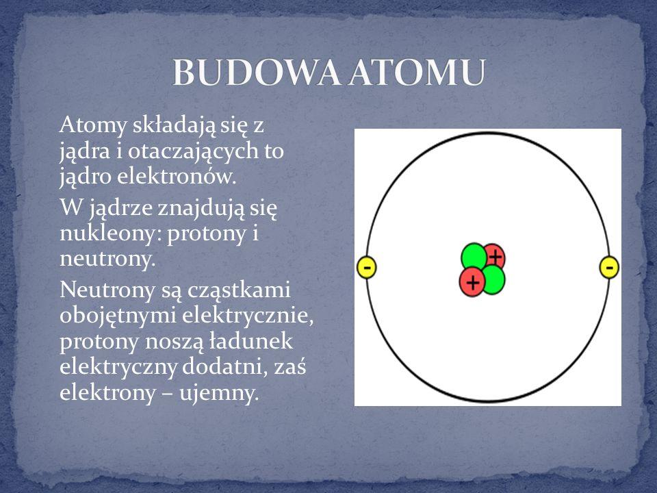 BUDOWA ATOMU Atomy składają się z jądra i otaczających to jądro elektronów. W jądrze znajdują się nukleony: protony i neutrony.