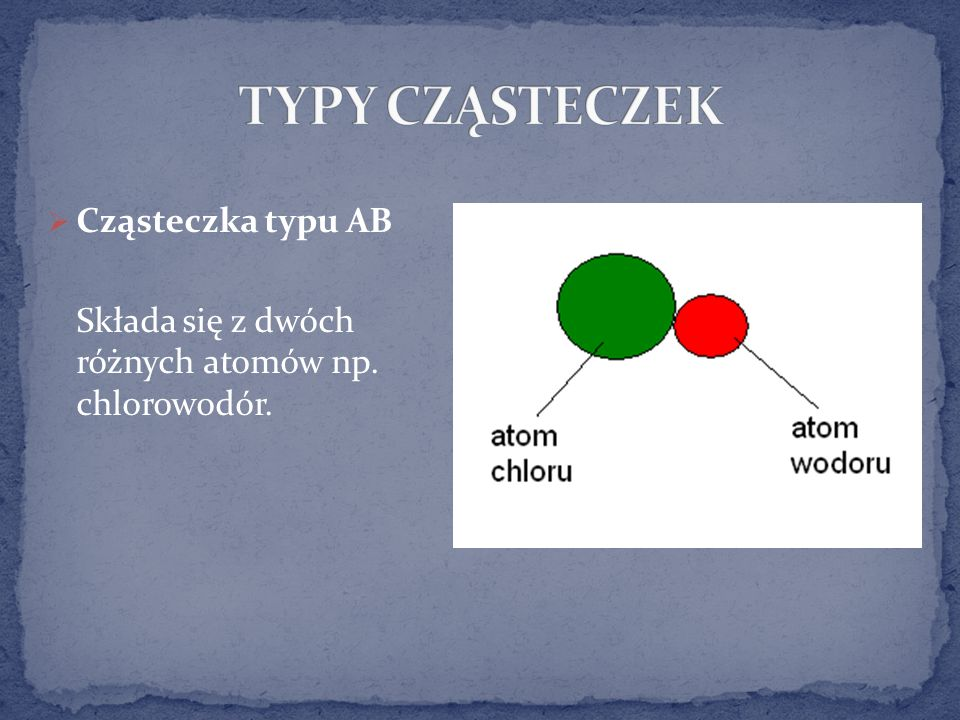 TYPY CZĄSTECZEK Cząsteczka typu AB