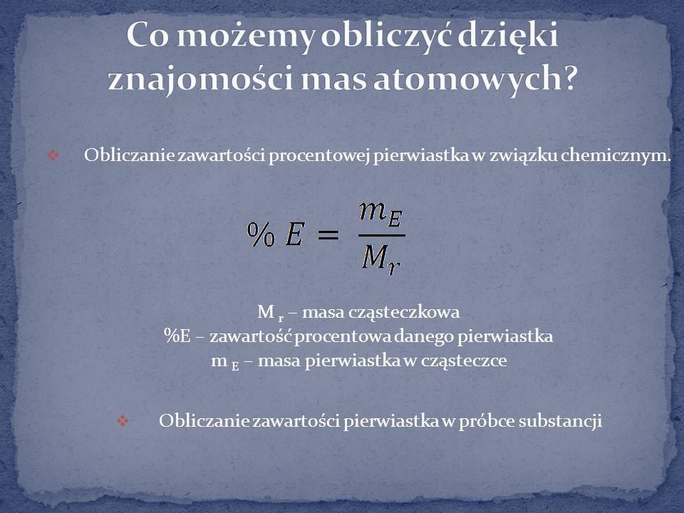 Co możemy obliczyć dzięki znajomości mas atomowych