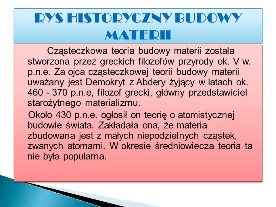 RYS HISTORYCZNY BUDOWY MATERII