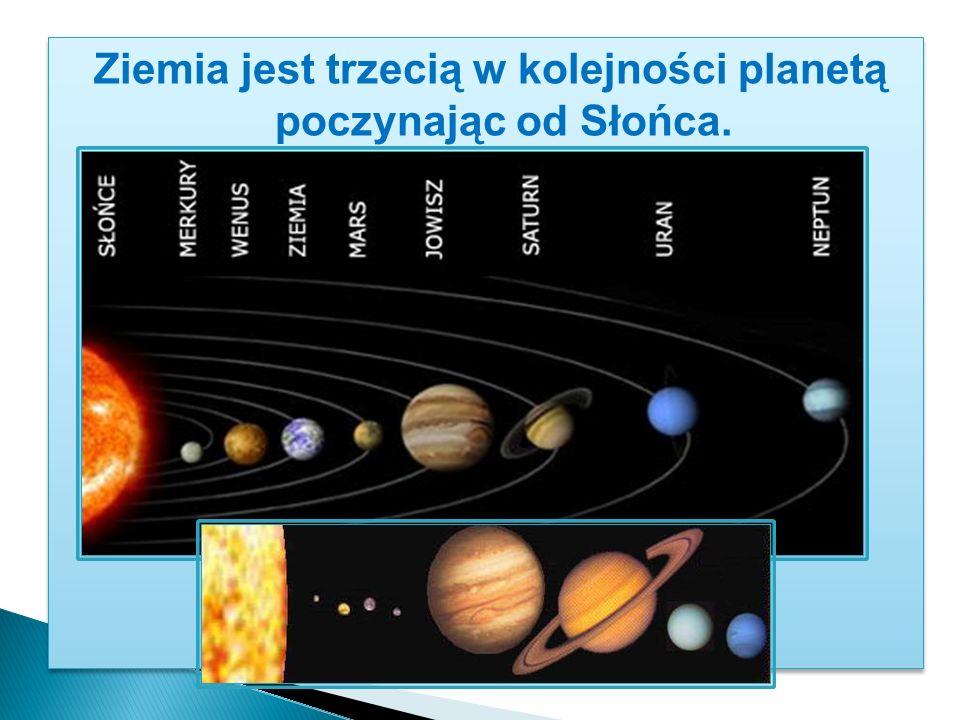 Ziemia jest trzecią w kolejności planetą poczynając od Słońca.