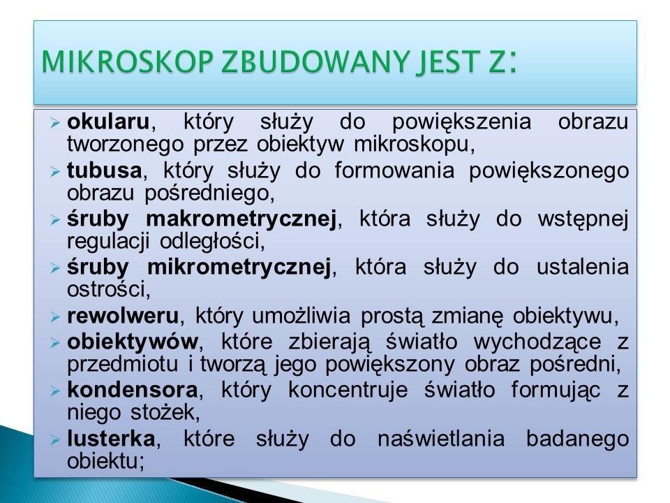MIKROSKOP ZBUDOWANY JEST Z: