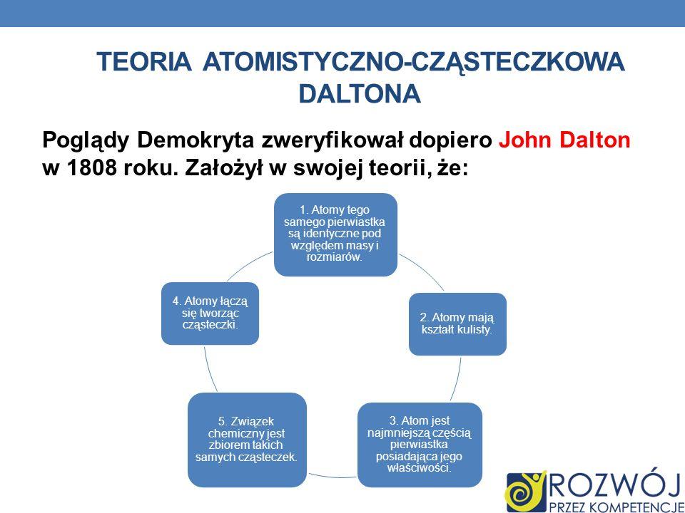 TEORIA ATOMISTYCZNO-CZĄSTECZKOWA DALTONA